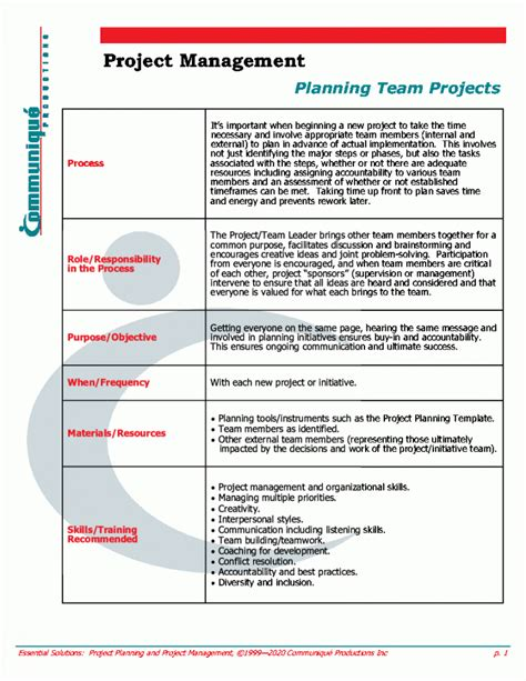 Project Management Guidelines Template