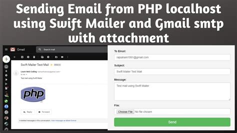 Sending Email from PHP localhost using Swift Mailer and
