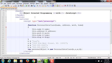 JavaScript - Object Oriented Programming Example 1 - YouTube